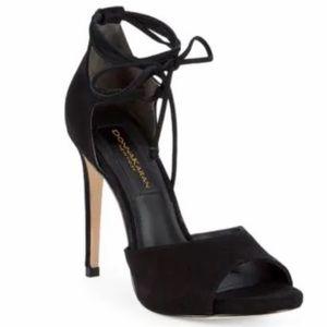 Donna Karan Suri Suede Ankle-Strap High Heel Black
